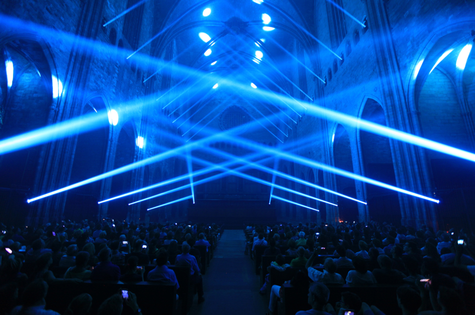 Immersive lighting show at the cathedral of Girona