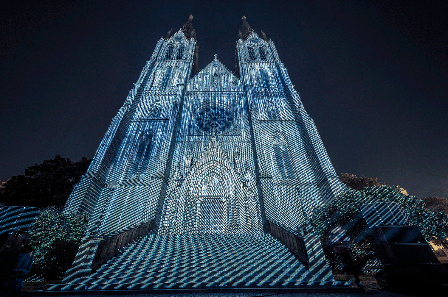 3D mapping projected onto the façade of the Santa Ludmila Church in Prague.