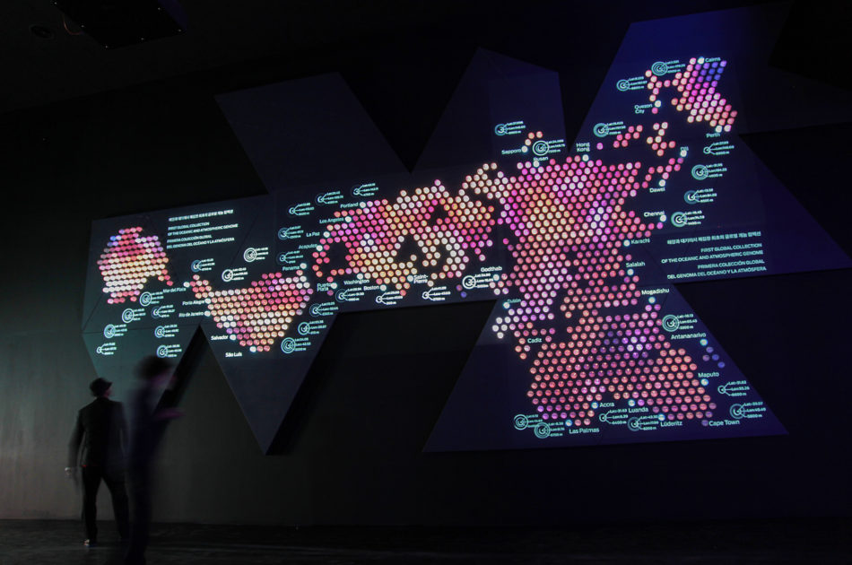 Dimaxion map for the Spanish Pavilion installation at World Expo Yeosu 2012 by Onionlab.