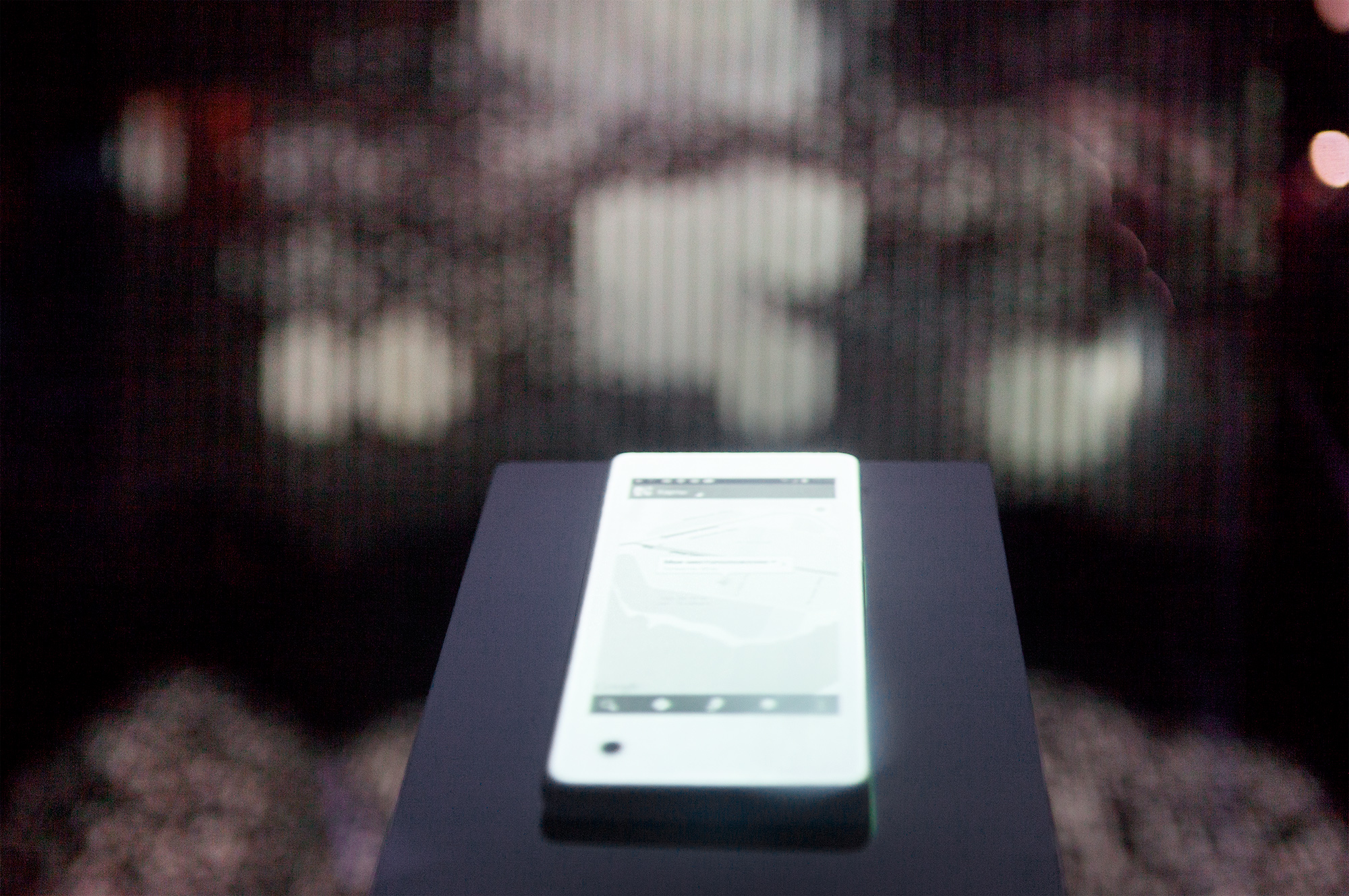 Detail of the installation for Yota Devices featuring their dual-screen phone.
