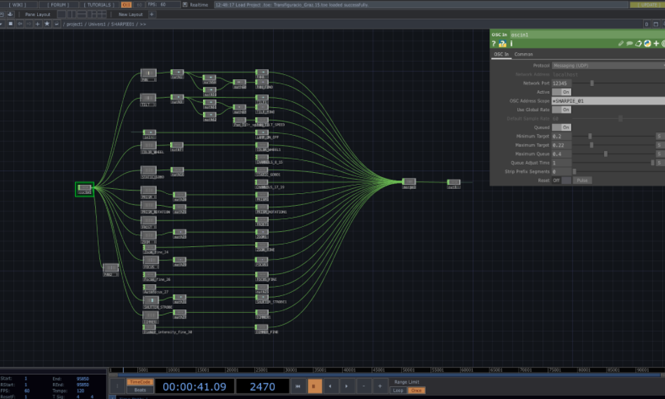 Patch of one of the devices referenced within the Touchdesigner