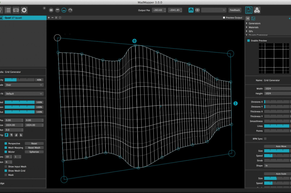 Configurable precise Bezier Warping grids, in perspective